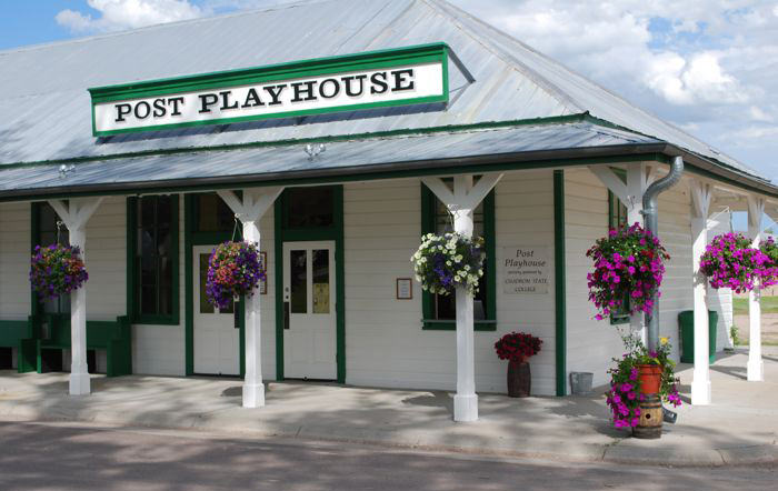 The outside front entrance of Post Playhouse